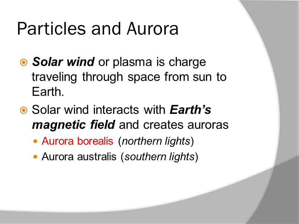 Particles and Aurora Solar wind or plasma is charge traveling through space from sun to Earth.