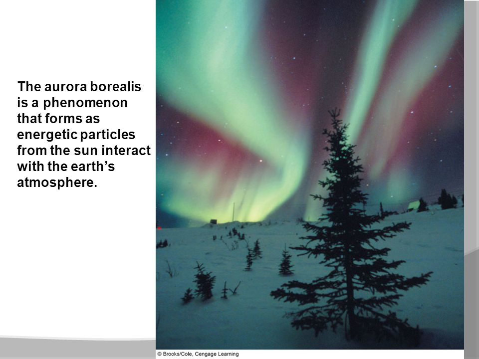 The aurora borealis is a phenomenon that forms as energetic particles from the sun interact with the earth's atmosphere.