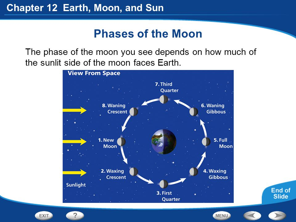 Phases of the Moon The phase of the moon you see depends on how much of the sunlit side of the moon faces Earth.