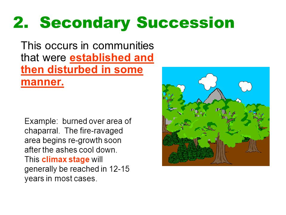 2. Secondary Succession This occurs in communities that were established and then disturbed in some manner.