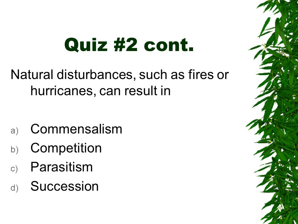 Quiz #2 cont. Natural disturbances, such as fires or hurricanes, can result in. Commensalism. Competition.