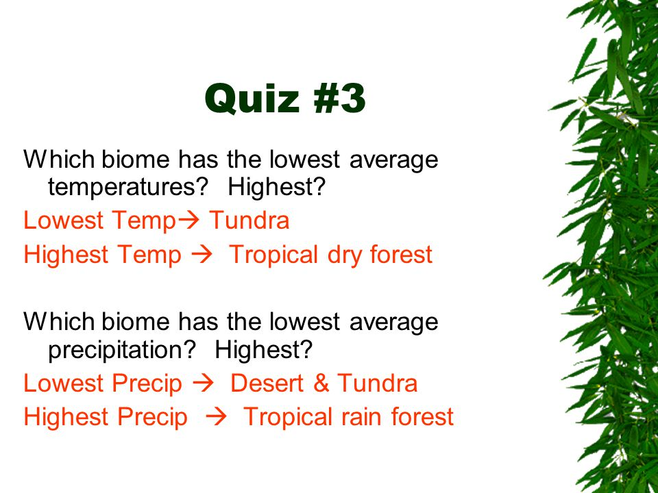 Quiz #3 Which biome has the lowest average temperatures Highest