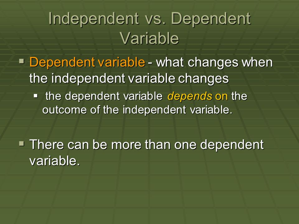 Independent vs. Dependent Variable