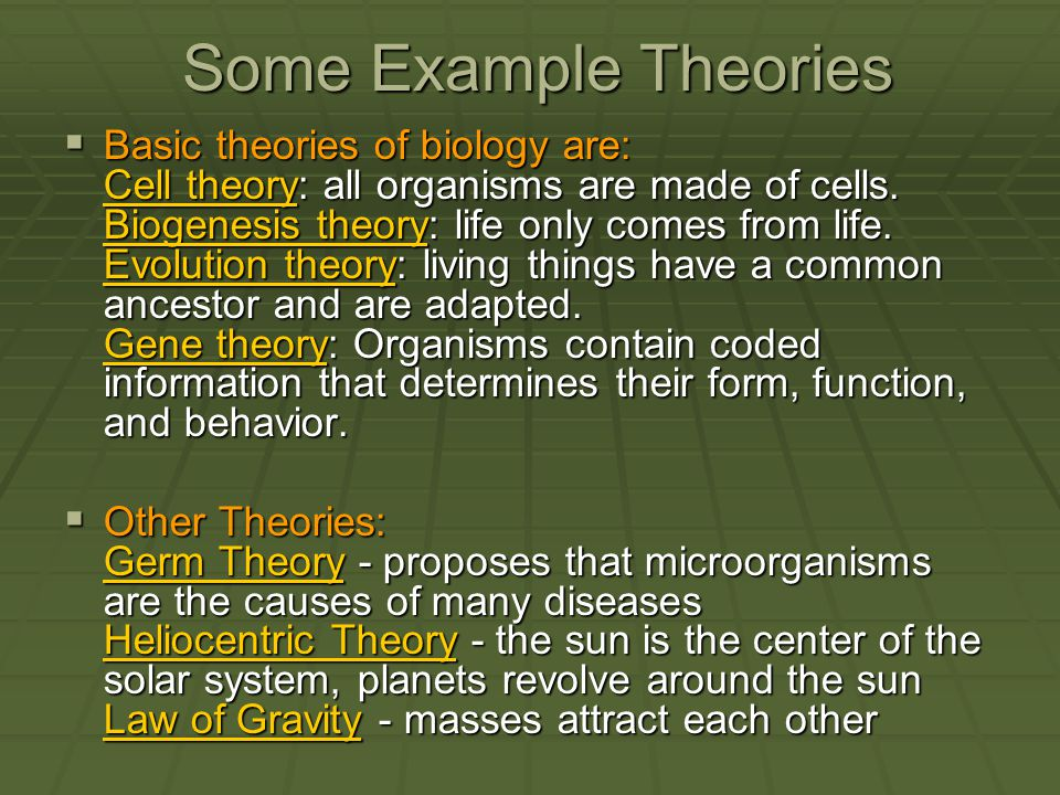 Some Example Theories