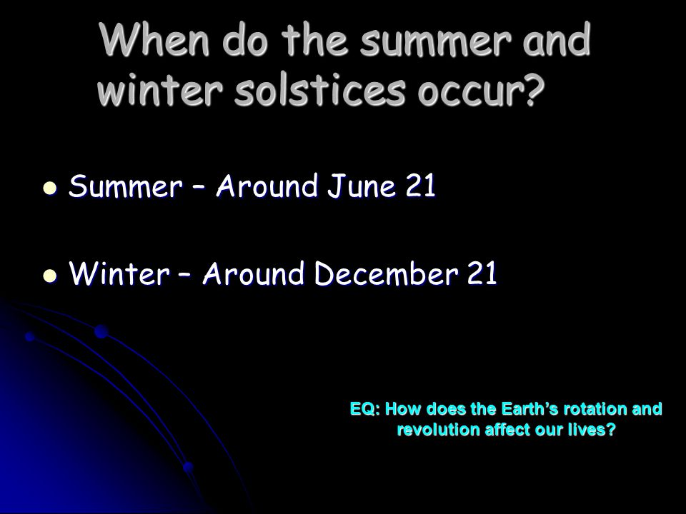 When do the summer and winter solstices occur