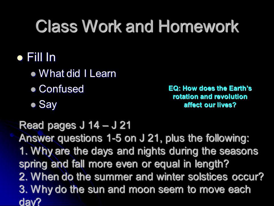 Class Work and Homework