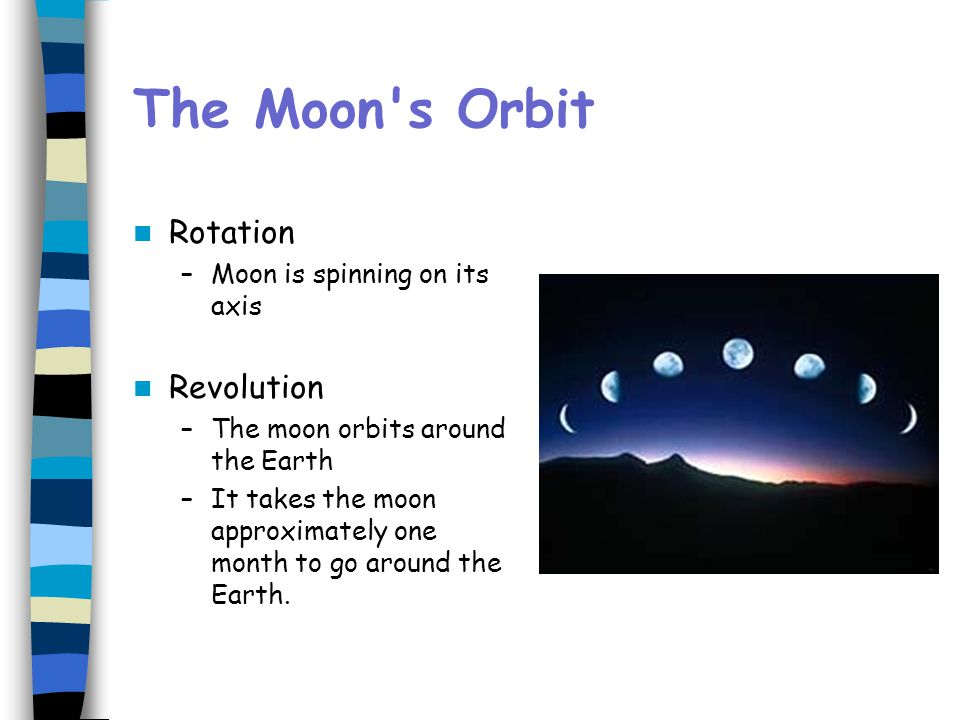 The Moon s Orbit Rotation Revolution Moon is spinning on its axis