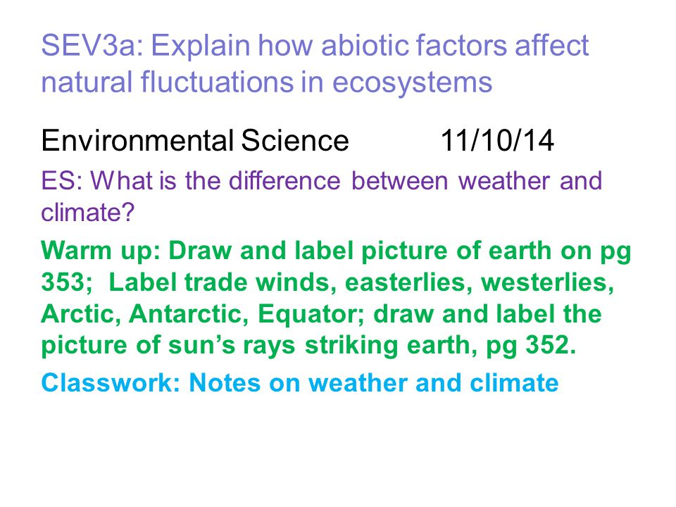 Environmental Science 11/10/14