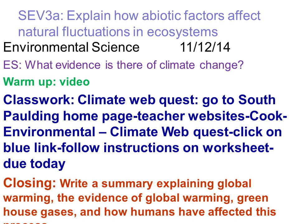 Environmental Science 11/12/14