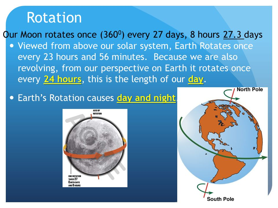 Rotation Our Moon rotates once (3600) every 27 days, 8 hours 27.3 days