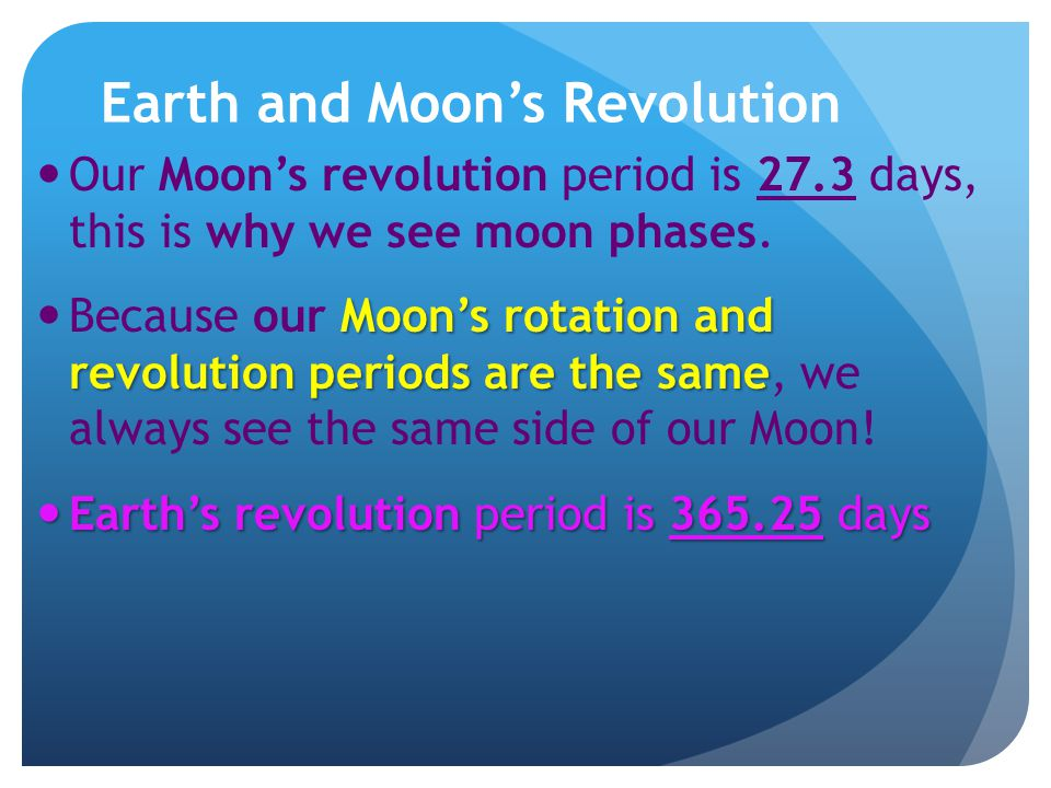 Earth and Moon's Revolution