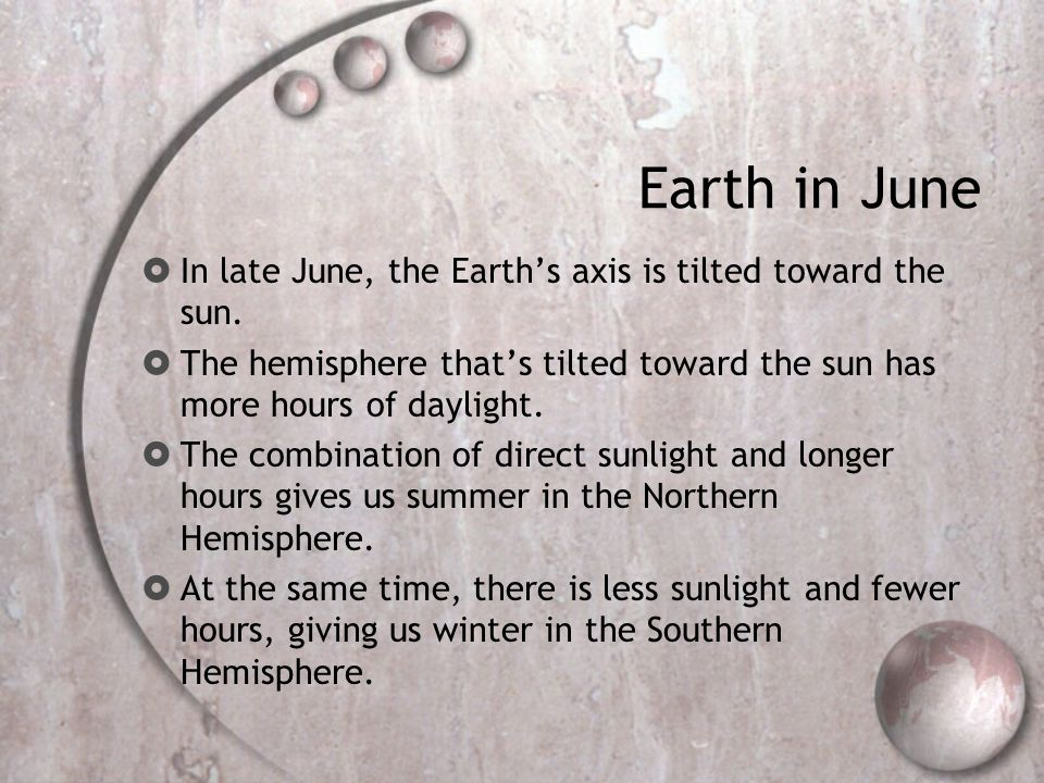 Earth in June In late June, the Earth's axis is tilted toward the sun.