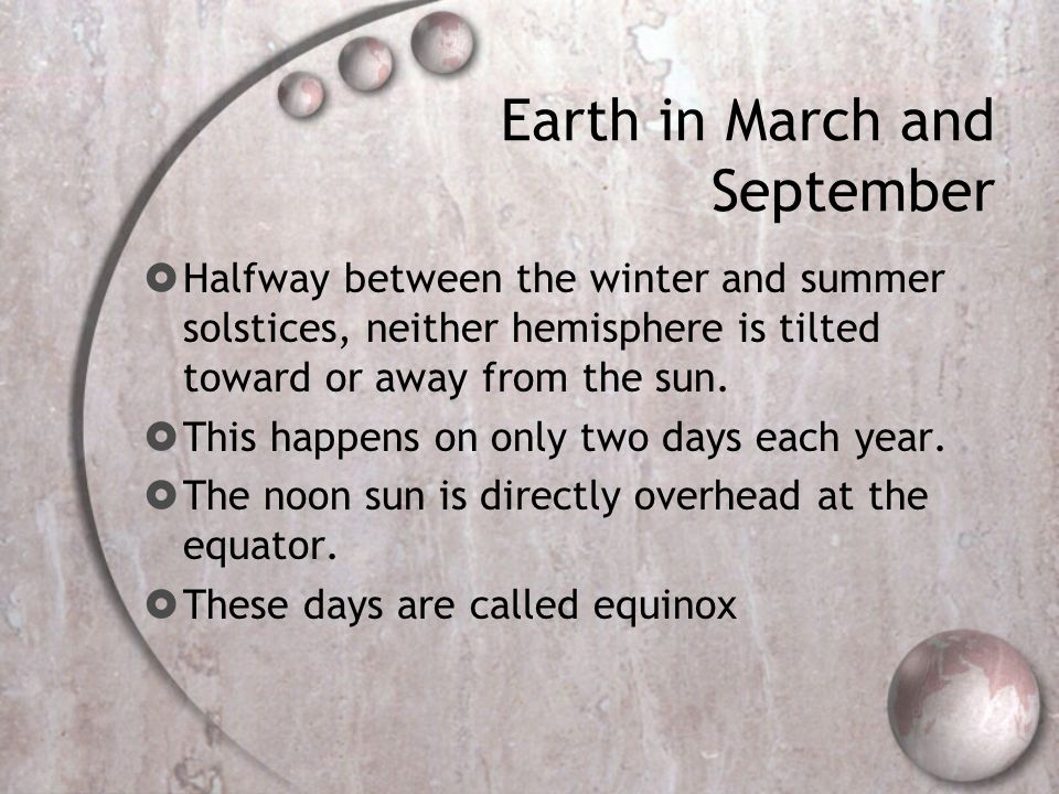 Earth in March and September
