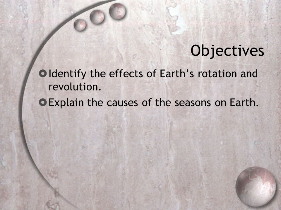Objectives Identify the effects of Earth's rotation and revolution.