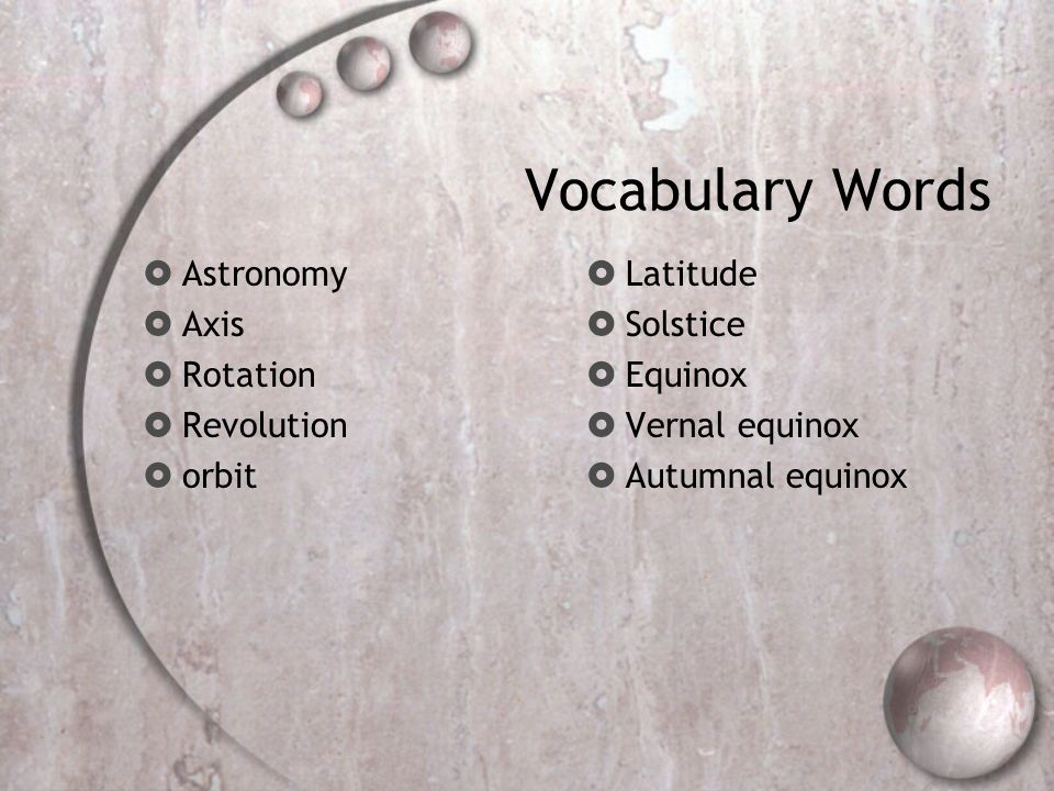 Vocabulary Words Astronomy Axis Rotation Revolution orbit Latitude