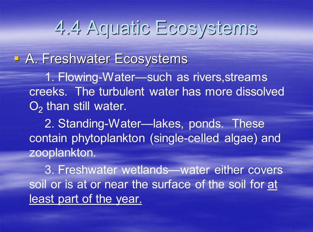 4.4 Aquatic Ecosystems A. Freshwater Ecosystems