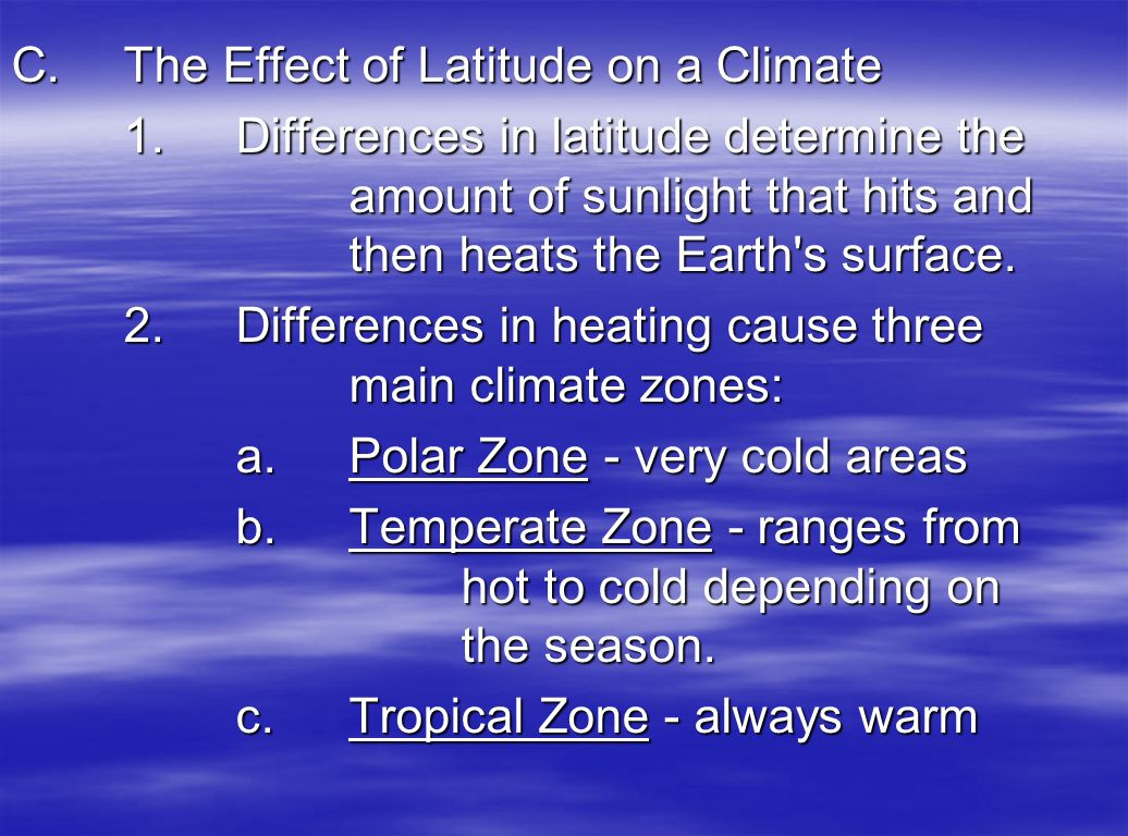 C. The Effect of Latitude on a Climate