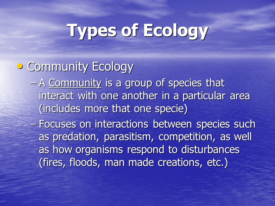 Types of Ecology Community Ecology