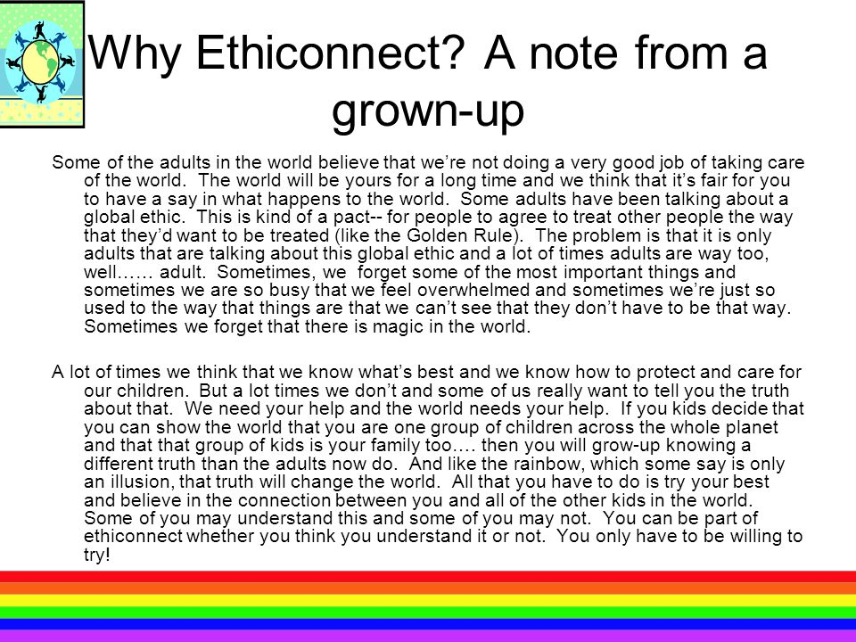 Why Ethiconnect A note from a grown-up