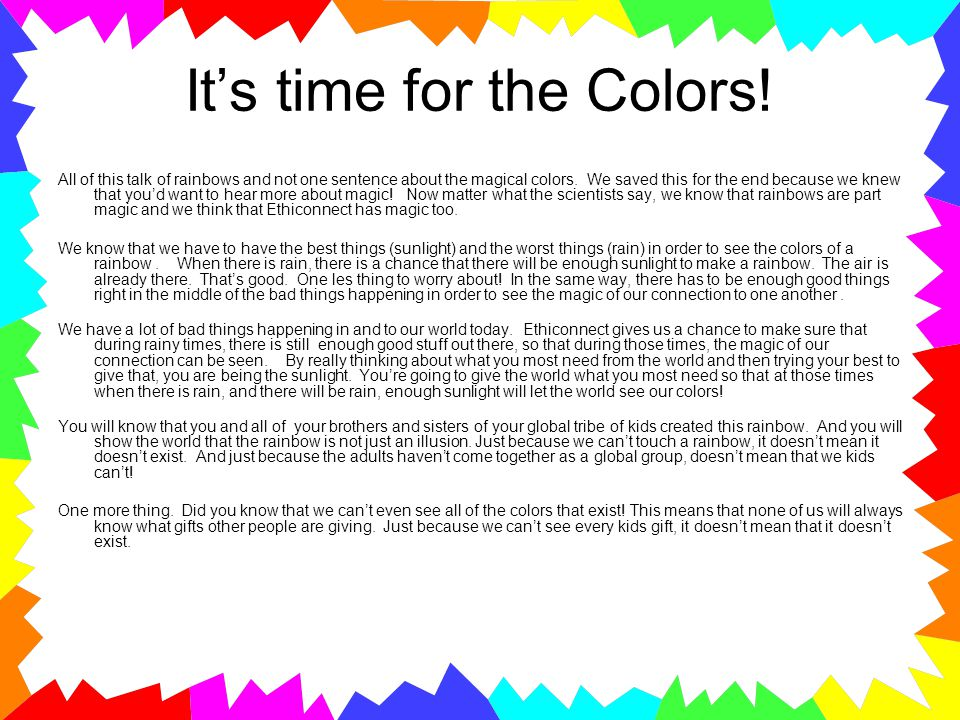 It's time for the Colors!