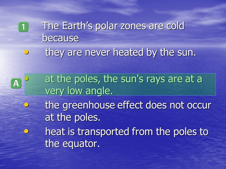 The Earth's polar zones are cold because