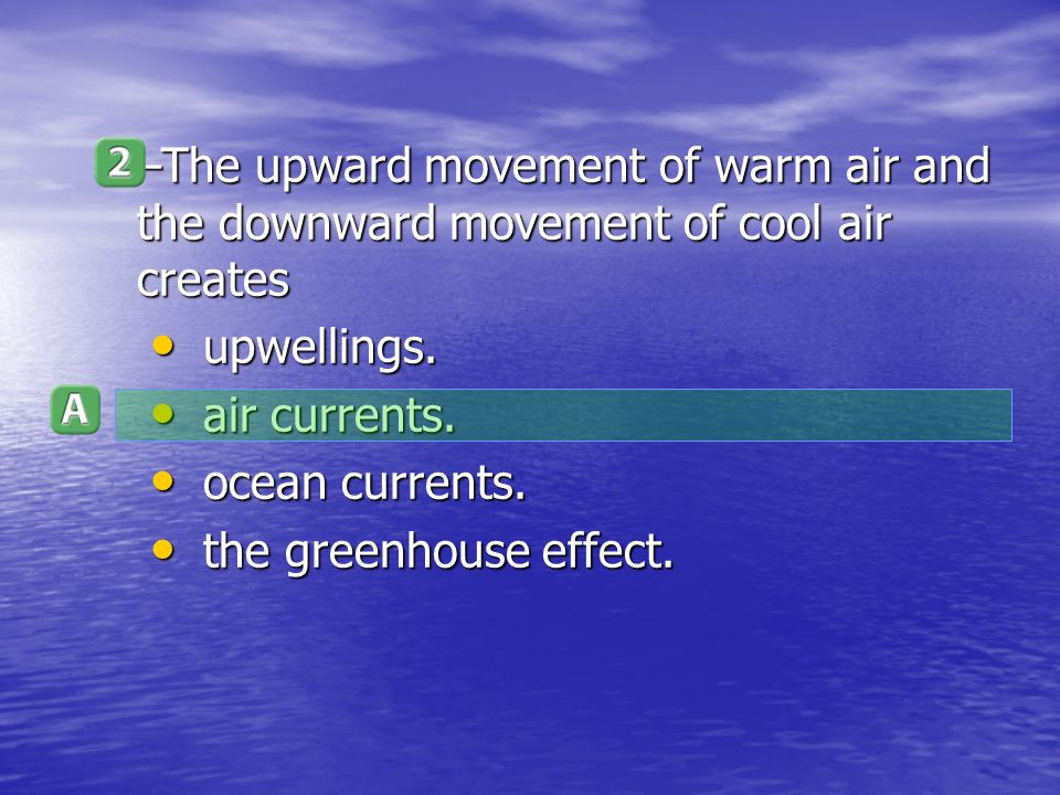 The upward movement of warm air and the downward movement of cool air creates