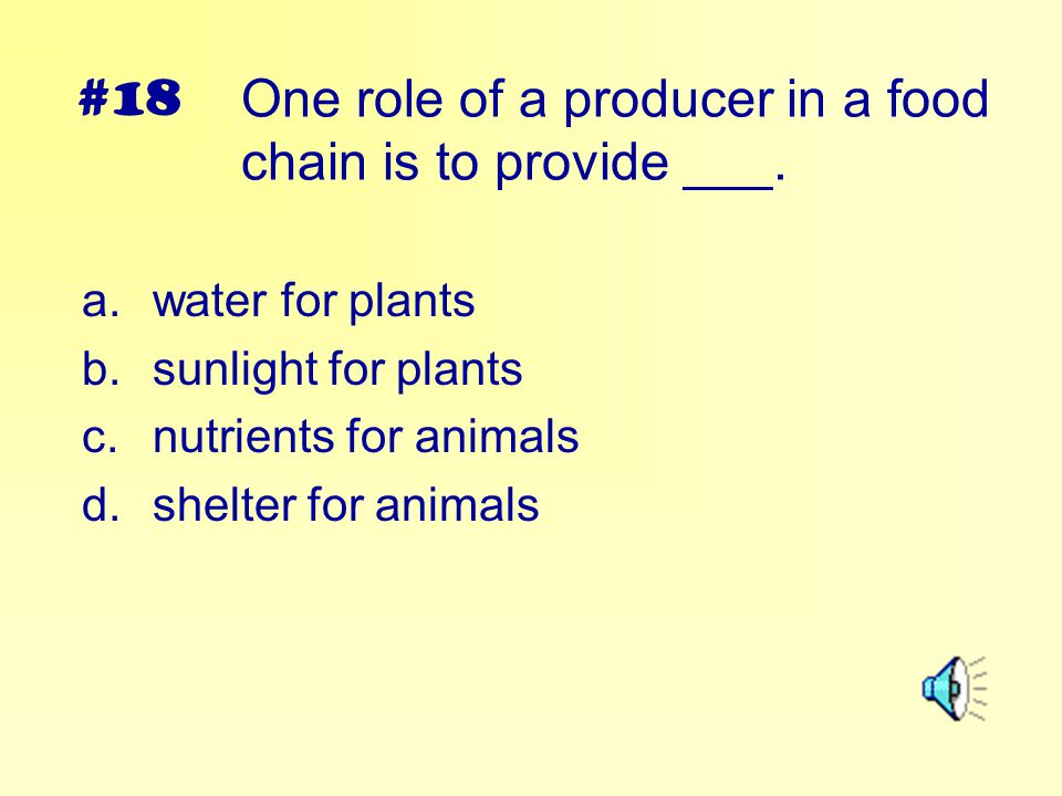 One role of a producer in a food chain is to provide ___.