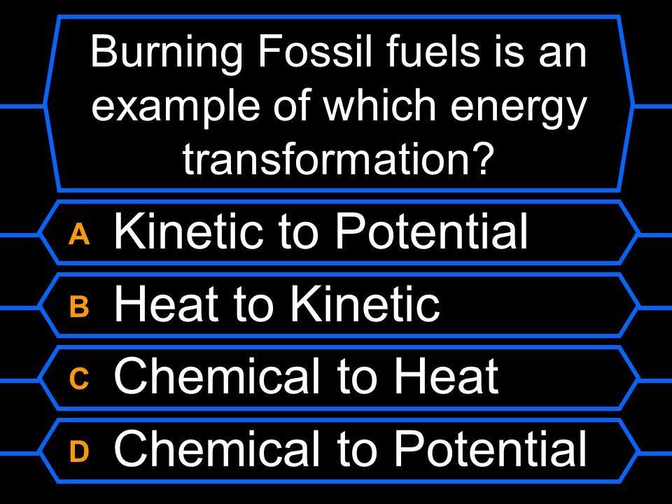 Burning Fossil fuels is an example of which energy transformation