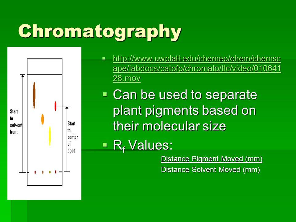 Chromatography http://www.uwplatt.edu/chemep/chem/chemscape/labdocs/catofp/chromato/tlc/video/01064128.mov.