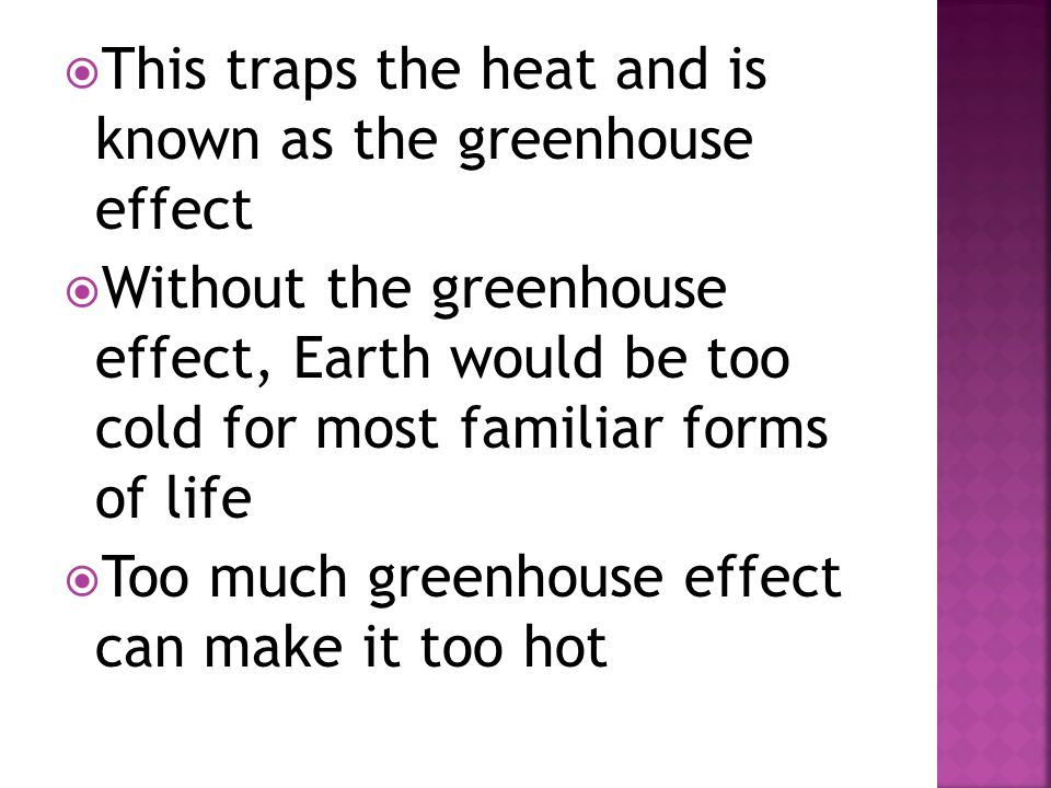 This traps the heat and is known as the greenhouse effect