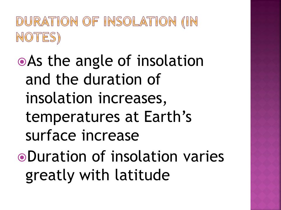 Duration of insolation (in notes)