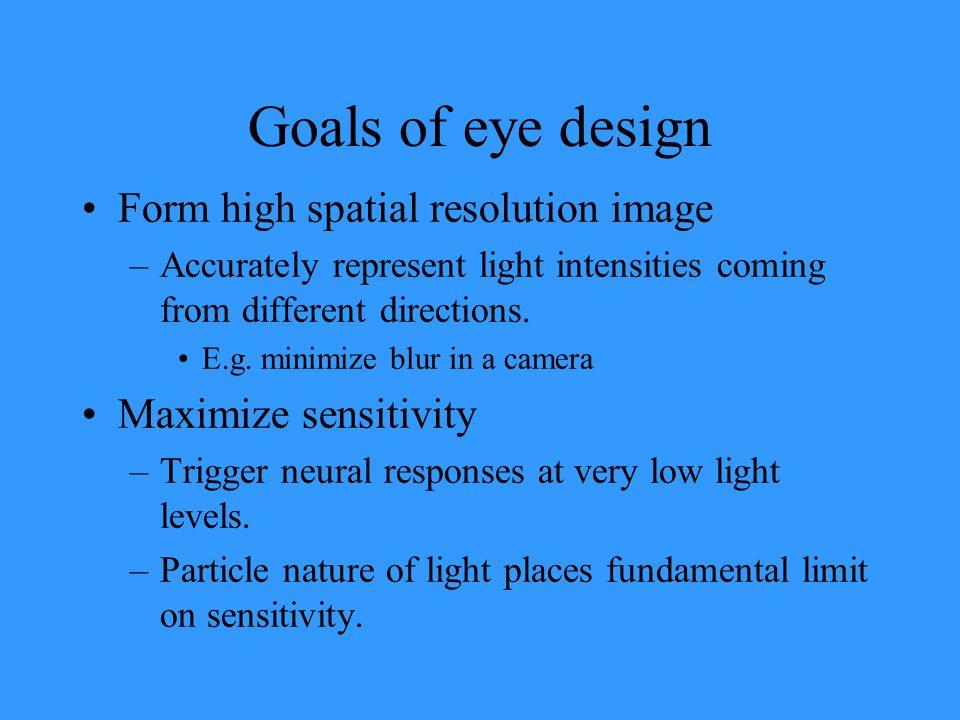 Goals of eye design Form high spatial resolution image