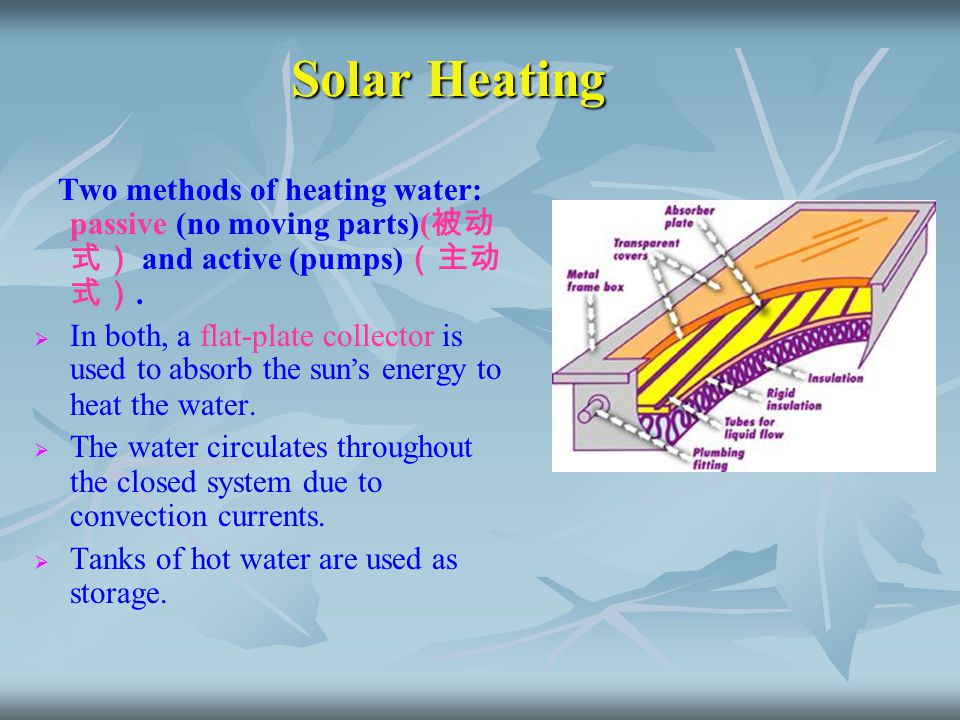 Solar Heating Two methods of heating water: passive (no moving parts)(被动式) and active (pumps)(主动式).