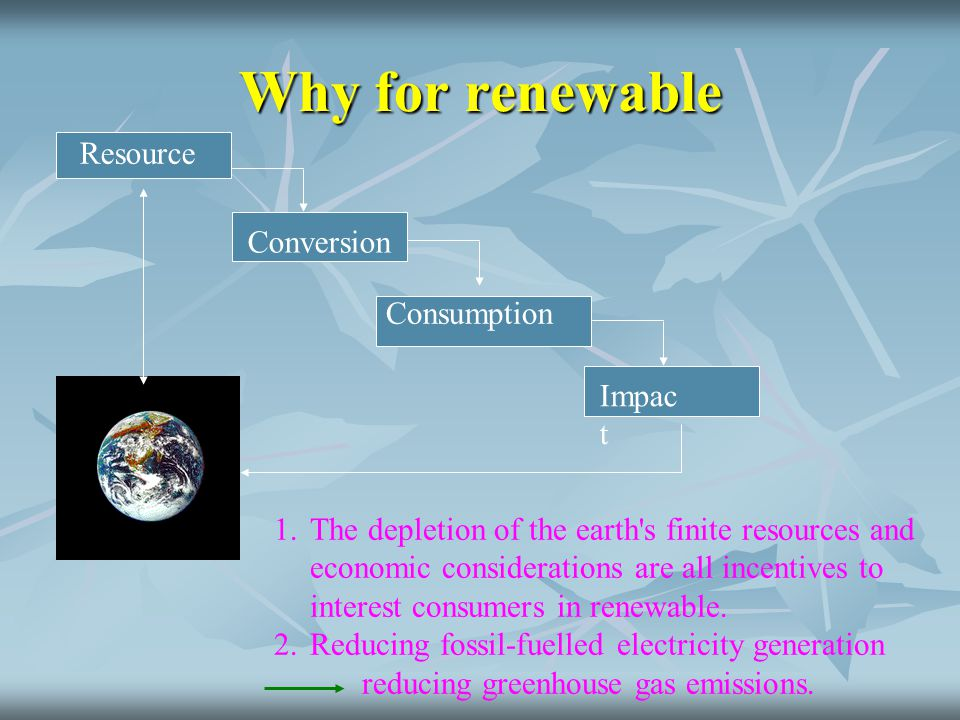 Why for renewable Resource Conversion Consumption Impact