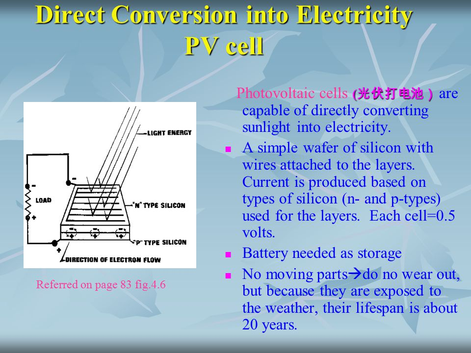 Direct Conversion into Electricity PV cell