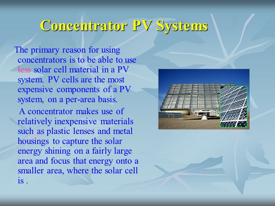 Concentrator PV Systems