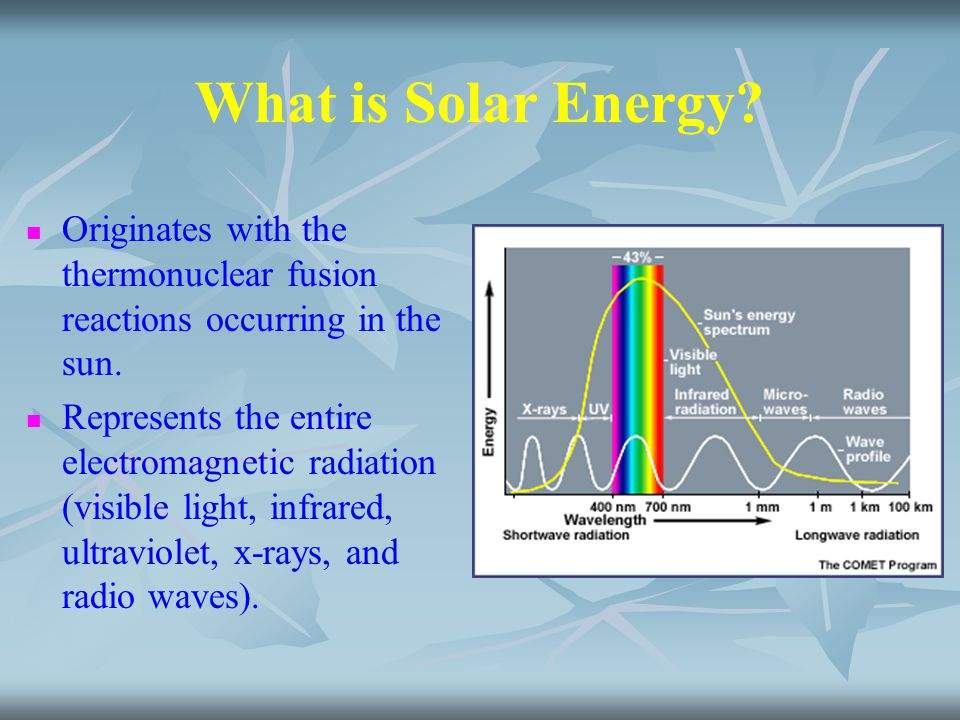 What is Solar Energy Originates with the thermonuclear fusion reactions occurring in the sun.