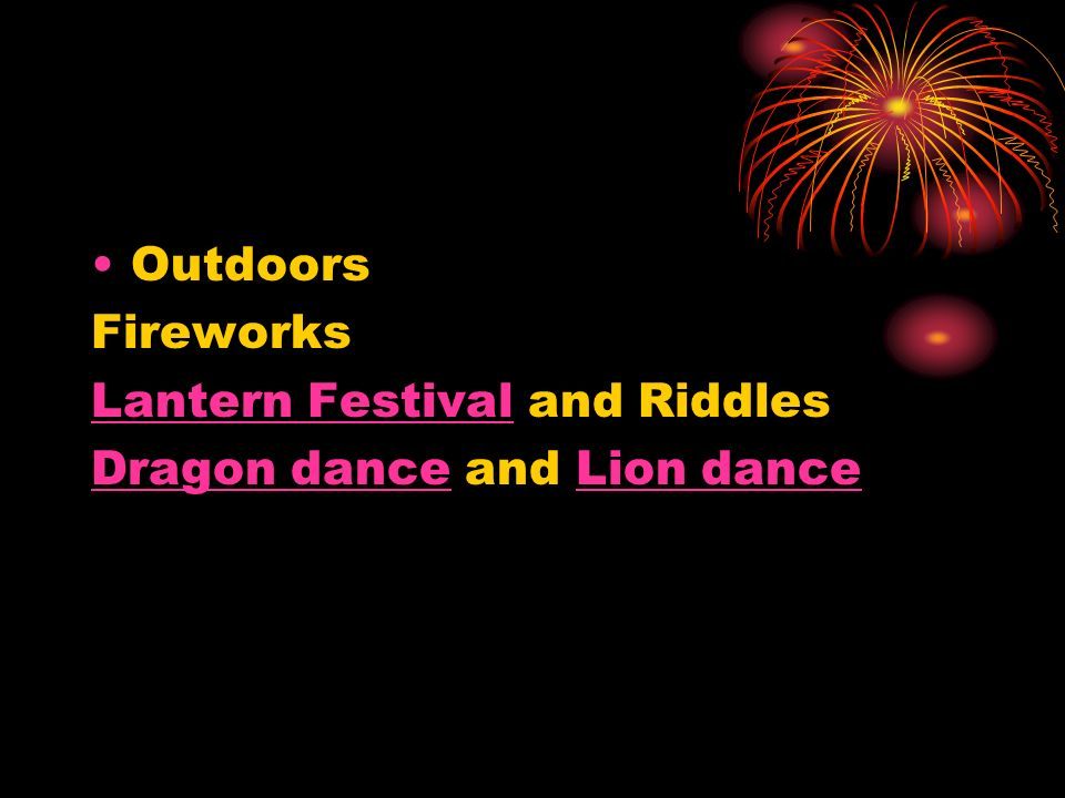 Outdoors Fireworks Lantern Festival and Riddles Dragon dance and Lion dance