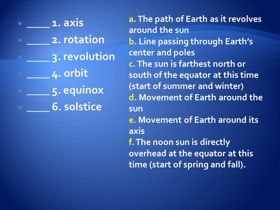 ____ 1. axis ____ 2. rotation ____ 3. revolution ____ 4. orbit