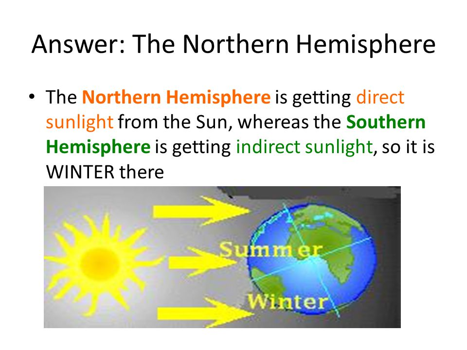 Answer: The Northern Hemisphere