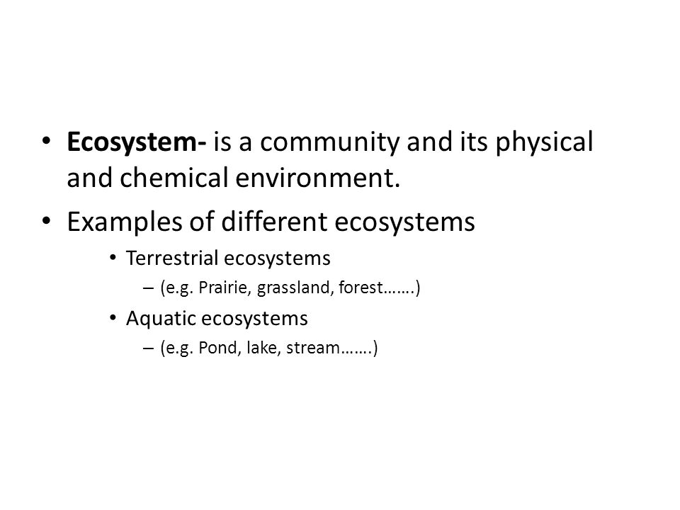 Ecosystem- is a community and its physical and chemical environment.
