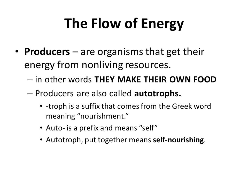 The Flow of Energy Producers – are organisms that get their energy from nonliving resources. in other words THEY MAKE THEIR OWN FOOD.