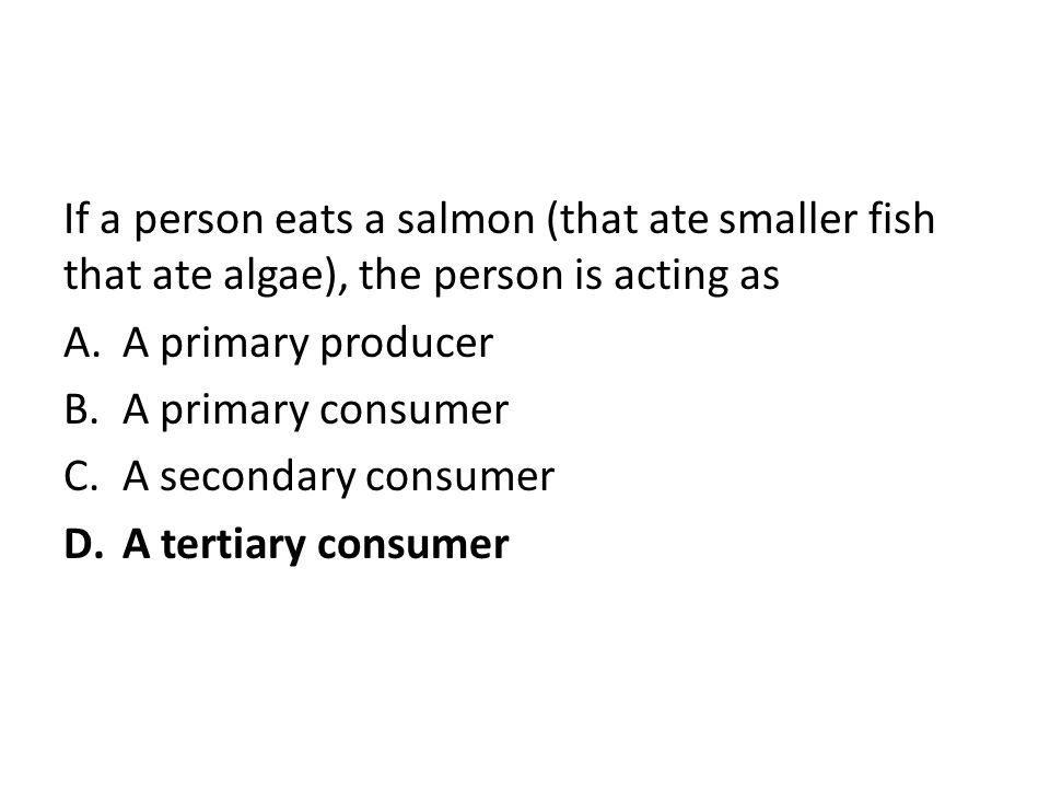 If a person eats a salmon (that ate smaller fish that ate algae), the person is acting as