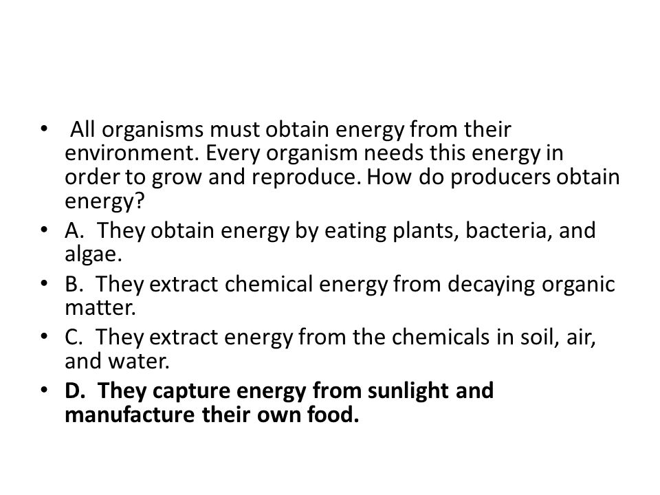 All organisms must obtain energy from their environment