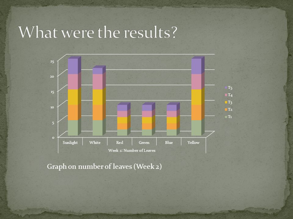 What were the results Graph on number of leaves (Week 2)