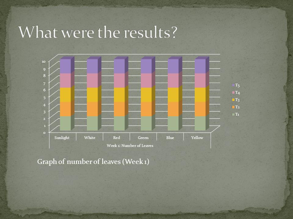 What were the results Graph of number of leaves (Week 1)
