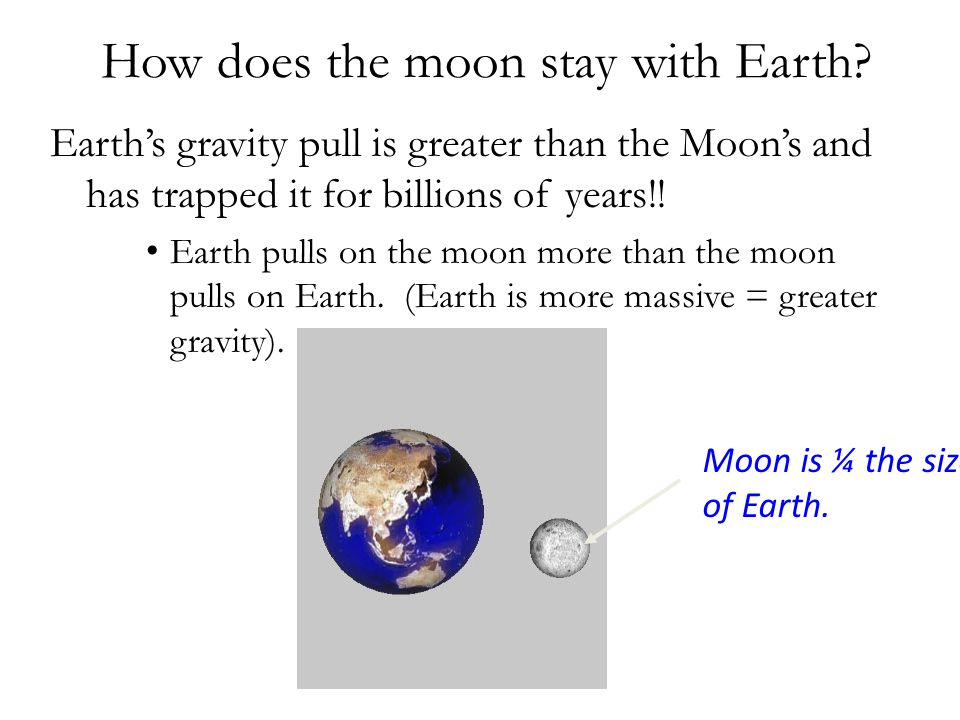 How does the moon stay with Earth