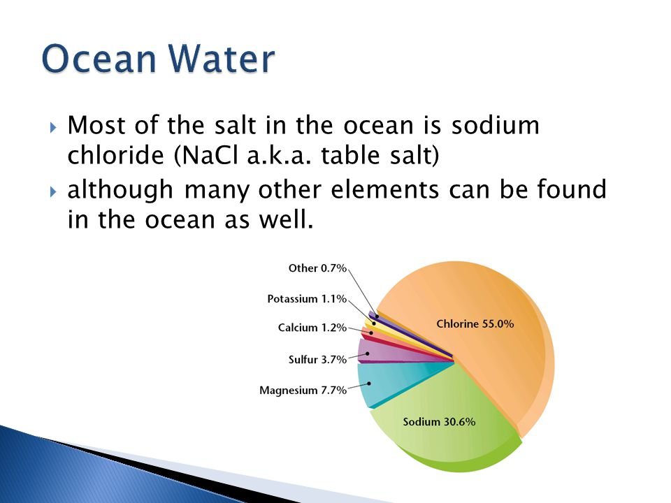 Ocean Water Most of the salt in the ocean is sodium chloride (NaCl a.k.a. table salt)