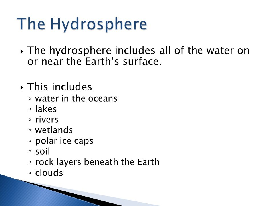 The Hydrosphere The hydrosphere includes all of the water on or near the Earth's surface. This includes.