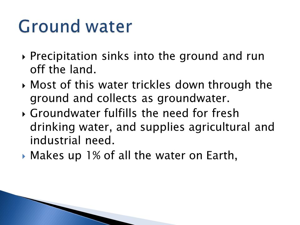 Ground water Precipitation sinks into the ground and run off the land.